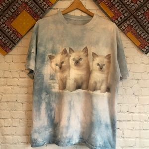 Tie dye kitten graphic T-shirt